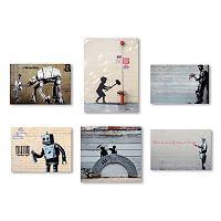 Trademark Fine Art Banksy 6 pc Canvas Wall Art Set
