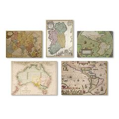 Trademark Fine Art ''Vintage Maps'' 5 pc Canvas Wall Art Set