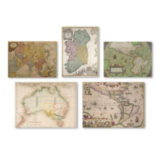 Trademark Fine Art ''Vintage Maps'' 5-piece Canvas Wall Art Set