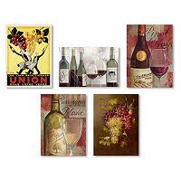 Trademark Fine Art Wine 5 pc Canvas Wall Art Set