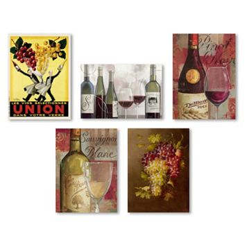 Trademark Fine Art Wine 5-piece Canvas Wall Art Set