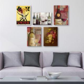 Trademark Fine Art Wine 5-piece Canvas Wall Art Set