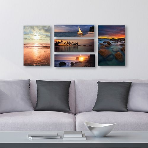 Trademark Fine Art ''Beach Scenes'' Canvas Wall Art 5-piece Set