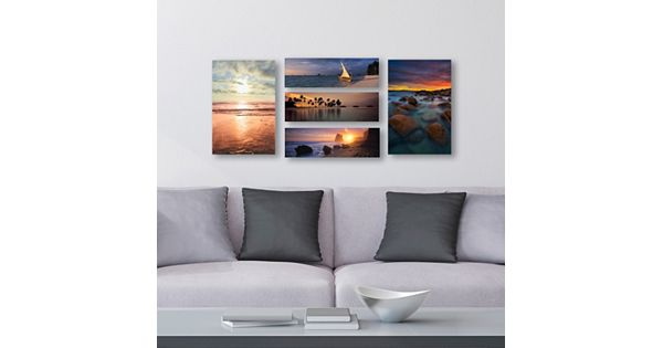 Trademark Fine Art Beach Scenes Canvas Wall Art 5 Piece Set