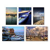 Trademark Fine Art ''Boats'' 5-piece Canvas Wall Art Set