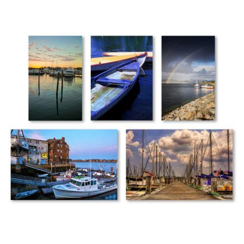 """Trademark Fine Art """"Boats"""" 5-piece Canvas Wall Art Set"""