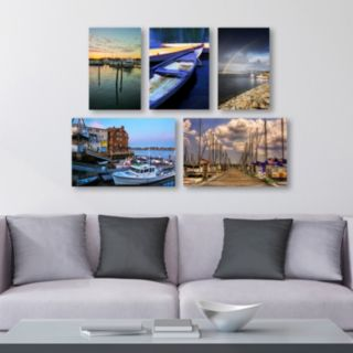 Trademark Fine Art ''Boats'' 5-piece Canvas Wall Art Set