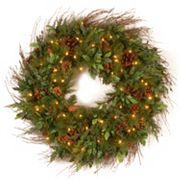 30 in Decorative Collection Pre-Lit Artificial Juniper Mix Pine Wreath