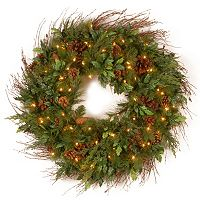 30 in Decorative Collection Pre-Lit Artificial Juniper Mix Pine Wreath