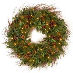 30-in. Decorative Collection Pre-Lit Artificial Juniper Mix Pine Wreath