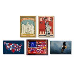 Trademark Fine Art ''All American'' 5 pc Canvas Wall Art Set