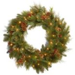 30-in. Decorative Collection Pre-Lit LED Berry & Pinecone Noble Mixed Wreath