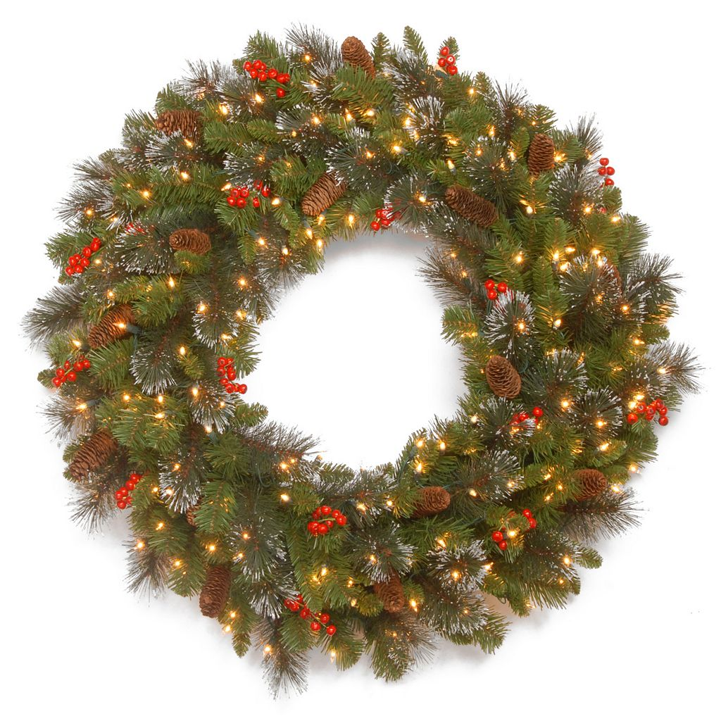 30-in. LED Artificial Bristle, Pinecone & Berry Crestwood Spruce Wreath