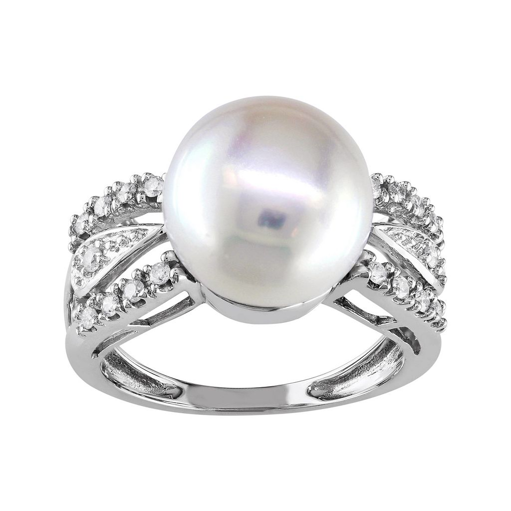 14k White Gold 1/8 Carat T.W. Diamond & Freshwater Cultured Pearl Ring