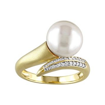 10k Gold 1/10 Carat T.W. Diamond & Freshwater Cultured Pearl Bypass Ring
