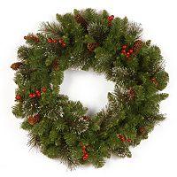 24 in Glitter Berry, Bristle & Pinecone Crestwood Spruce Wreath