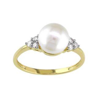 Stella Grace 10k Gold 1/8 Carat T.W. Diamond & Freshwater Cultured Pearl Ring
