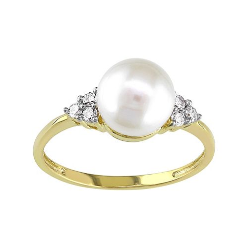 Stella Grace 10k Gold 1/8 Carat T.W. Diamond & Freshwater Cultured Pearl Ring