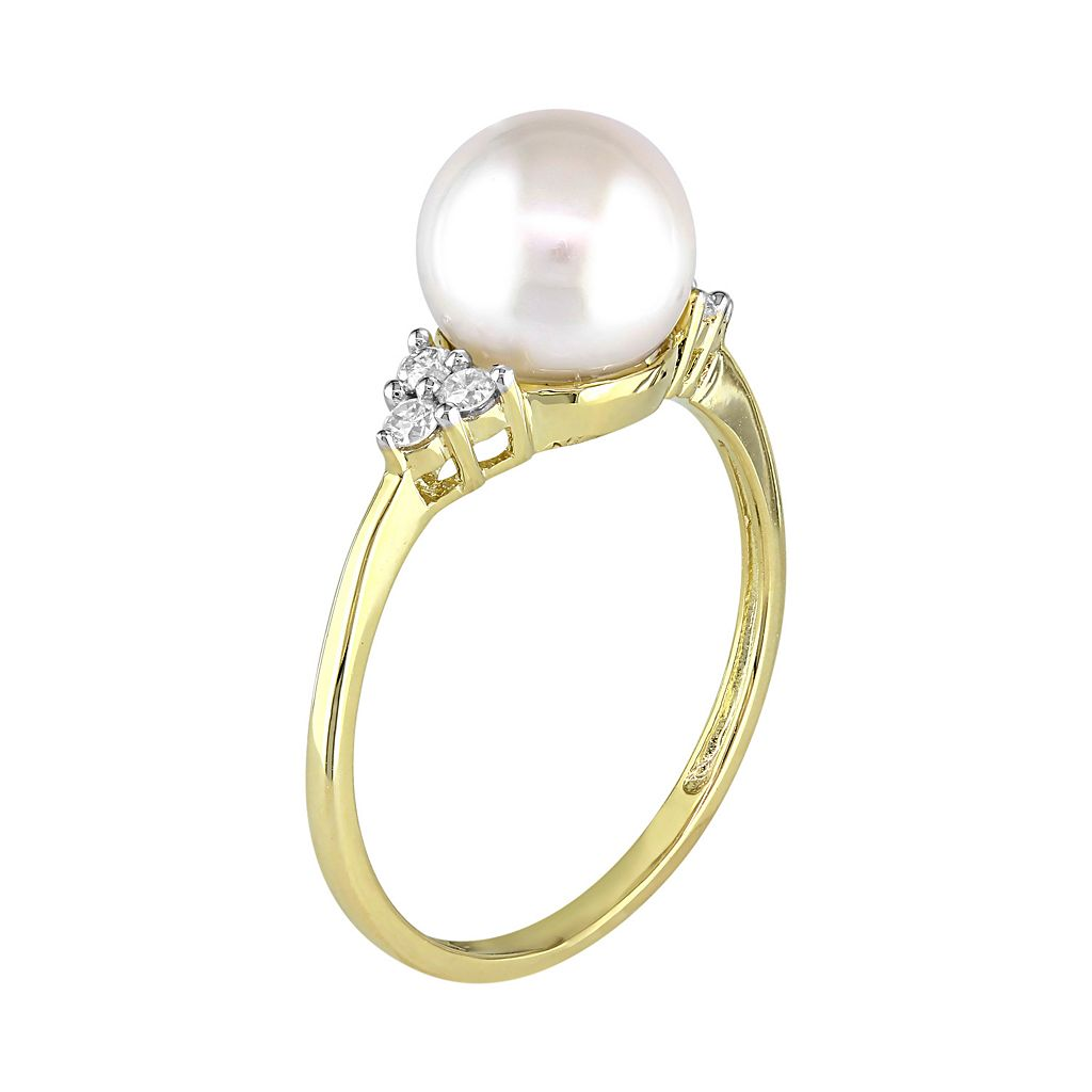10k Gold 1/8 Carat T.W. Diamond & Freshwater Cultured Pearl Ring