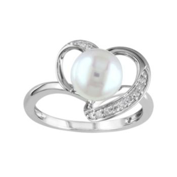 10k White Gold 1/10 Carat T.W. Diamond & Freshwater Cultured Pearl  Ring