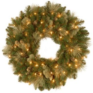 30-in. Pre-Lit Artificial Flocked Pinecone Carolina Pine Wreath