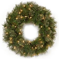24 in Pre-Lit Artificial Atlanta Spruce Wreath