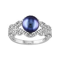 10k White Gold 1/5 Carat T.W. Diamond & Dyed Freshwater Cultured Pearl Ring