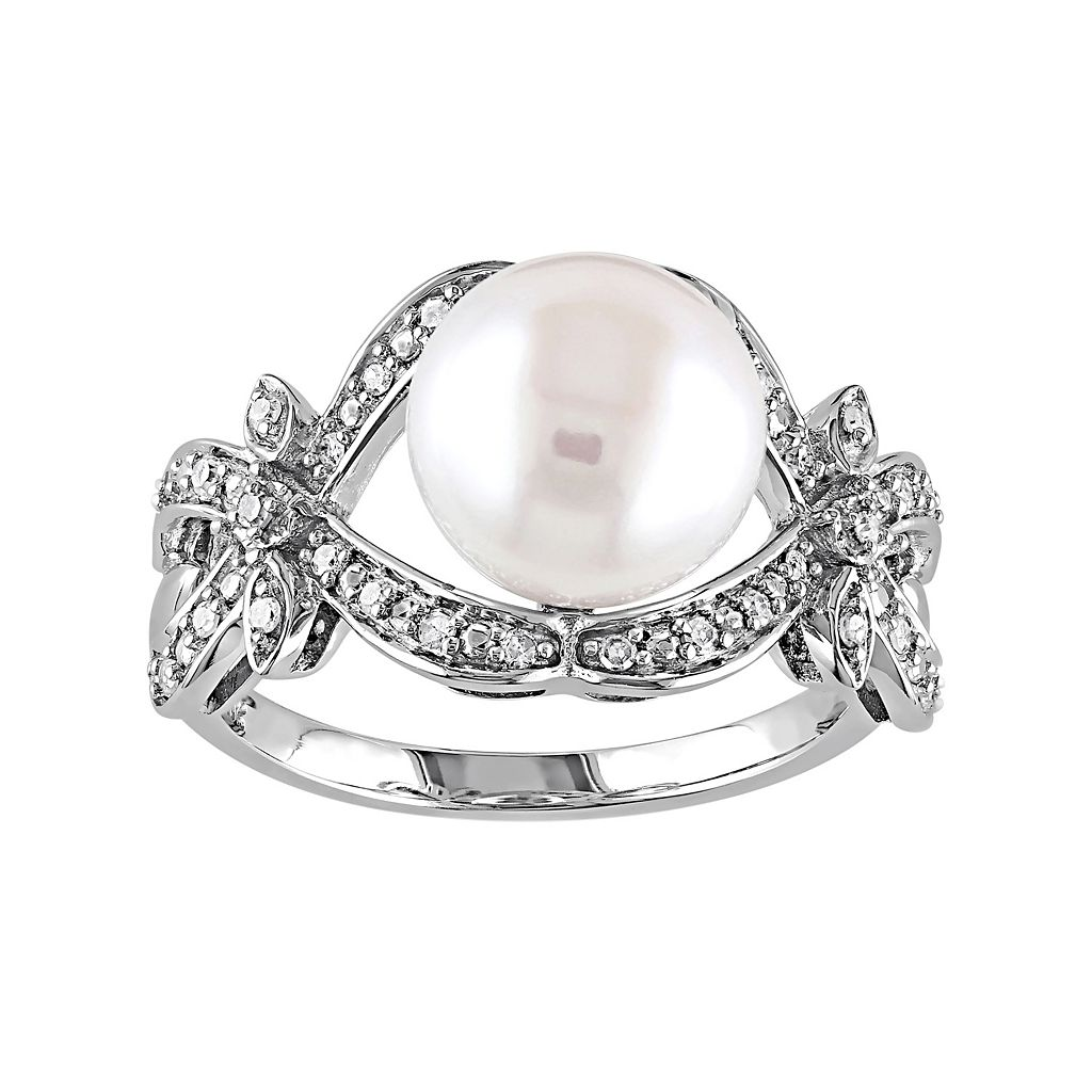 10k White Gold 1/6 Carat T.W. Diamond & Freshwater Cultured Pearl Ring