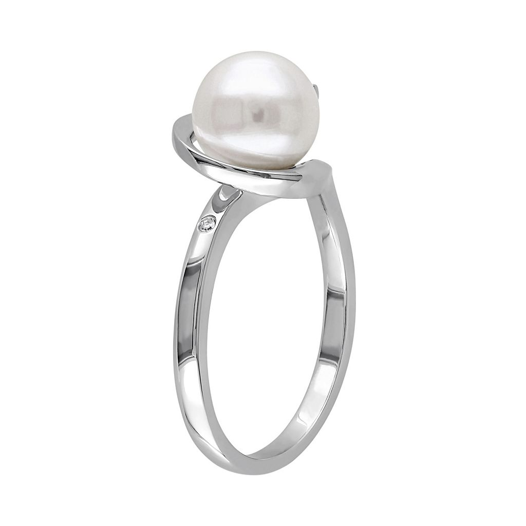 10k White Gold Diamond Accent & Freshwater Cultured Pearl Swirl Ring