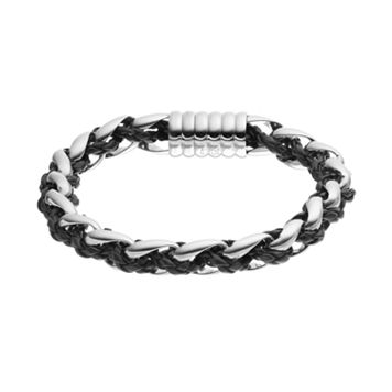 FOCUS FOR MEN Stainless Steel & Leather Braided Bracelet