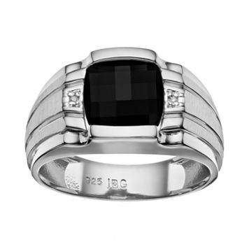 Men's Onyx & Diamond Accent Sterling Silver Ring