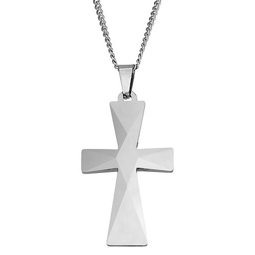 STEL Men's Tungsten Carbide Cross Pendant Necklace