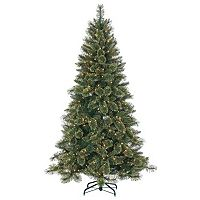 Sterling 7.5' Hard/Mixed Needle Gold Glitter Cashmere Pine Artificial Christmas Tree