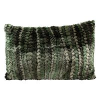 Mina Victory Green Faux-Fur Abstract Throw Pillow