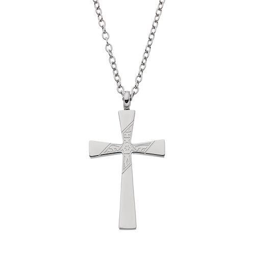 FOCUS FOR MEN Stainless Steel Cross Pendant Necklace