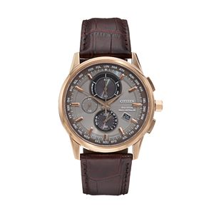 Citizen Eco-Drive Men's World A-T Leather Chronograph Watch - AT8113-04H