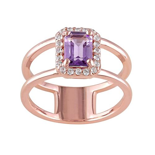 Amethyst & White Topaz Sterling Silver Double Row Halo Ring