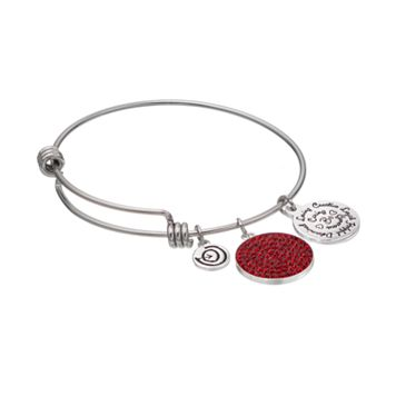 love this life Crystal Inspirational Charm Bangle Bracelet