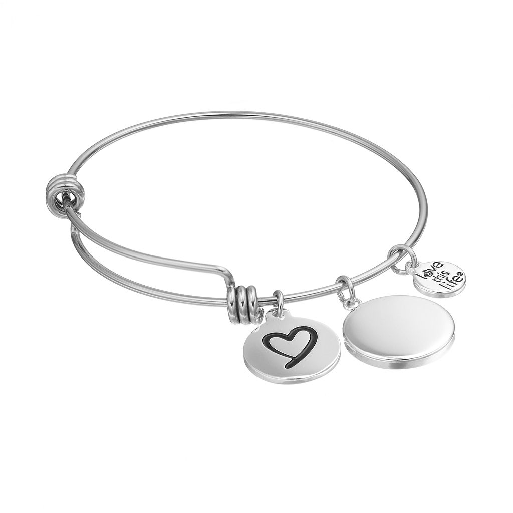 love this life Crystal Inspirational Bangle Bracelet