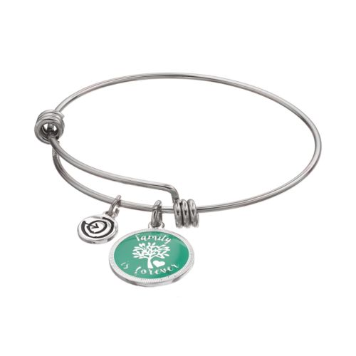 "love this life ""Family is Forever"" Disc Charm Bangle Bracelet"