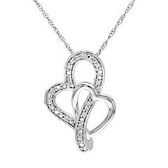 Diamond Accent 10k White Gold Double Heart Pendant Necklace