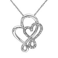 1/10 Carat T.W. Diamond 10k White Gold Double Heart Pendant Necklace