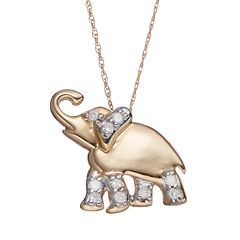 1/10 Carat T.W. Diamond 10k Gold Elephant Pendant Necklace