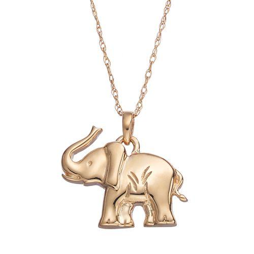 10k Gold Elephant Pendant Necklace