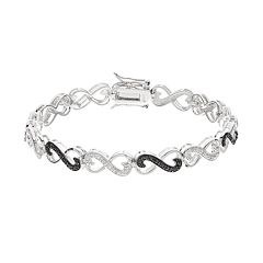 1/4 Carat T.W. Black & White Diamond Sterling Silver Infinity Heart Bracelet