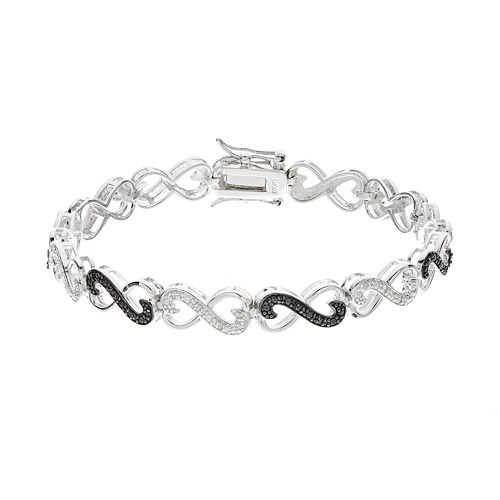 1/4 Carat T.W. Black & White Diamond Sterling Silver Infinity Heart Bracelet