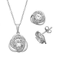1/5 Carat T.W. Diamond & Lab-Created White Sapphire Sterling Silver Love Knot Pendant & Stud Earring Set