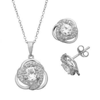 1/5 Carat T.W. Diamond & Lab-Created White Sapphire Sterling Silver Love Knot Pendant & Stud Earring Set