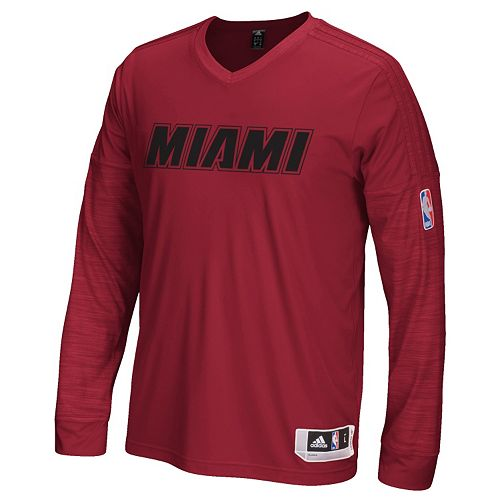 Men's adidas Miami Heat On Court Long-Sleeve Tee