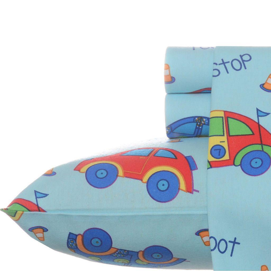 Laura Ashley Lifestyles Cars Flannel Sheet Set